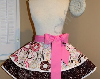 Donut Print Woman's Retro Half Apron With Tiered Skirt...Ready To Ship