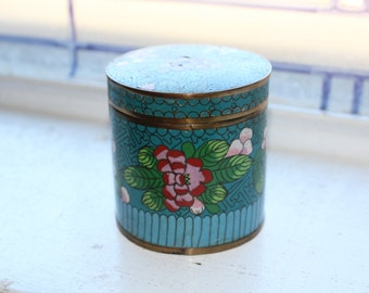 Vintage Chinese Cloisonne Lidded Jar Stash Box