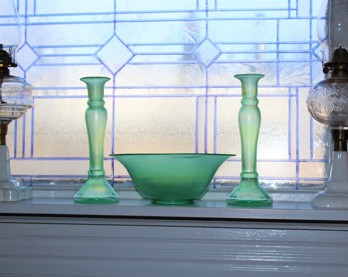 Fenton Stretch Glass Console Set Bowl and Candlesticks Green Iridescent Vintage 1920s
