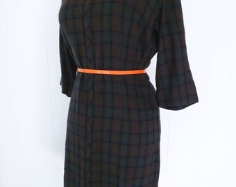 60's Mod Plaid Sheath Dress Drab Olive Print Peter Pan Collar Schoolgirl Day Shift Dress M