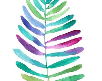 Jungle Palm Leaf, original watercolor painting, colorful palm, 8x10, green, jade, purple, palm leaf painting, watercolor leaf