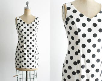 Vintage 1990s 90s Polka Dot Dress Mini Polka Dot Dress Black and White Polka Dot Dress 90s Dress Short 90s Dress XS Small Petite