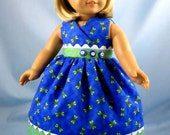 Doll Clothes fit American Girl - 18 Inch Doll Clothes - Doll -Clothing - Sundress and Hair Bow in Blue and Green Dragonfly Print