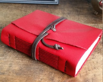 Leather Journal, Red Hand-Bound 4.5 x 6 Journal by The Orange Windmill on Etsy 1821