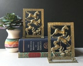 Folding Brass Horse Bookends, Leaping Horse Vintage Brass Bookends, Hinged Folding Greek Key Bookends, Hinged Brass Bookends, Horse Lover