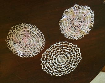 Set of Three Small Round Vintage Lace Pink And White Doilies Coasters