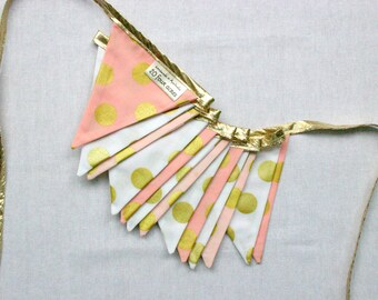 Mini Fabric Bunting - Gold and Pink Glitz Dots - Photo Prop, Party Decor, Photobooth, Nursery Decor, 1st Birthday