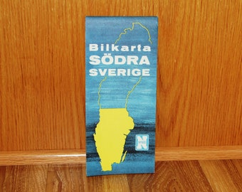 Southern Sweden Road Map - Bilkarta Sodra Sverige - Vintage 1960's Fold-out Map