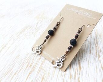 Om Yoga Earrings, Lava Stone Earrings, Stainless Steel Earrings, Hypoallergenic Earrings, Gemstone Earrings, Dangle Earrings, Ohm Earrings