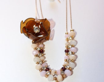 Brown statement necklace, rhinestones and pearls, pendant necklace, upcycled plastic bottles, hand crafted flower, shimmering, glass, gold