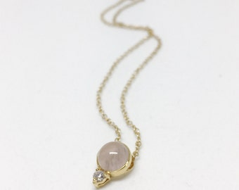 NEW Orb - Rose Quartz Necklace, Bridesmaids Gift, Gifts for Her