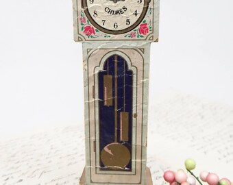Antique Grandfather Clock Perfume Box, Vintage Paper on Wood Cottage Chic Floral Chimes