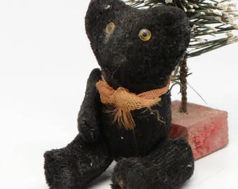 Miniature 1930's Jointed Black German Teddy Bear, One Arm