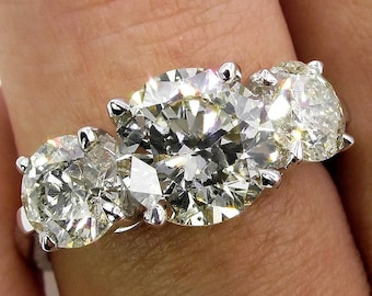 Reserved...3.38ct Estate Vintage Round Diamond 3 Stone Engagement Wedding 18k WG Ring