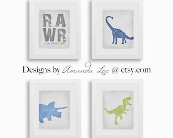 Dinosaur Art Print - Set of Four 8x10 - Play Room - Blue Dinosaur - Designer Set 12
