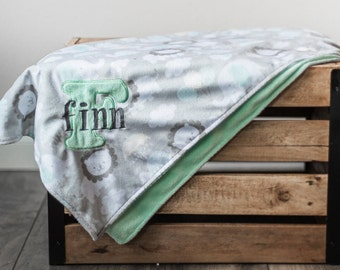 Personalized Baby Blanket, Minky Plush Neutral Nursery Animals, Grey Mint Green Monogrammed