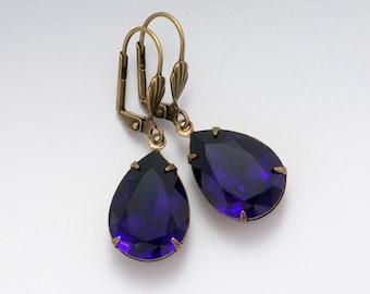 Dark Purple Rhinestone Earrings, Purple Crystal Earrings, Nickel Free Leverback Earrings, Rhinestone Jewelry, Purple Dangle Earrings, Deidra