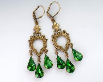 Bright Green Swarovski Crystal Earrings, Green Dangle Earrings Leverback, Fern Green Earrings Chandelier, Rhinestone Jewelry Brass, Fadila
