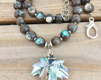 Wood and Abalone  Necklace, Abalone Maple Leaf Rare Gray Wood and Paua Shell necklace, Statement Wire wrapped Necklace Boho necklace