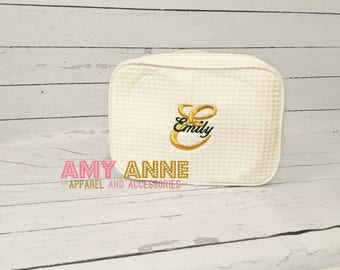 Monogrammed Waffle Weave Make Up Toiletry Travel Cosmetic Tote Monogrammed Personalized Great for Bridesmaids Gift Ideas