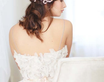Clara Pearl and Orchid Hair Vine, Rose Gold Bridal Headpiece, Bridal Hair Vine, Pearl Wedding Hair Vine
