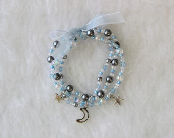 Blue and Silver Beaded Bracelet Set with Moon and Star Charms