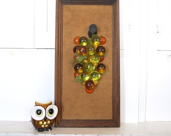 Vintage mid century modern lucite grapes tall framed wall hanging art 60s 70d kitchen food mod