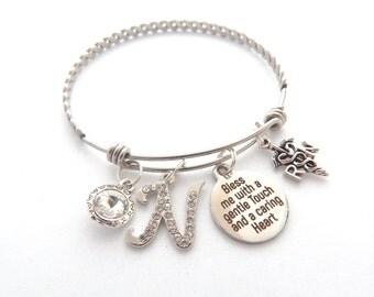 RN Gift, Rn Bracelet, Nurse Gift, Nurse Prayer Bracelet,  gentle touch, Caring Heart, Medical School Graduation Gifts, Gifts for Nurses