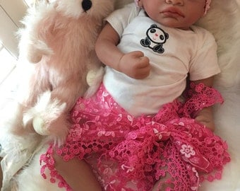 Completed Bi Racial Karena Completed Reborn Baby Doll from the Aisha 20 inch kit with Painted Hair