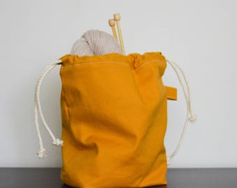 knitting project drawstring bag - small - mustard yellow