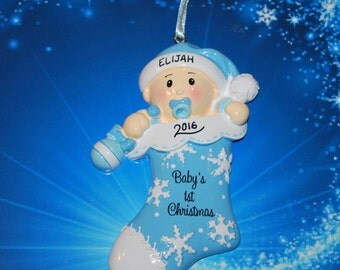 Personalized Baby Boy First Christmas Stocking Ornament