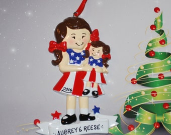 Personalized American Girl Doll Brunette Christmas Ornament
