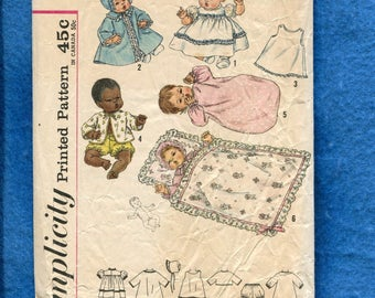 Vintage 1960's Simplicity 4723 Baby Doll Layette Pattern Size 24 inch Dolls