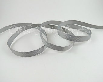 "Silver Ribbon - Gray - Grey - 3/8"" 7/8"" or 1 1/2"" Grosgrain - You Choose Length & Width -  Bow, Scrapbooking, Sewing, Art Craft Supplies"