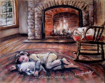 Art for kids, boy and dog, cat  canvas prints or paper, fireplace winter 'Warm and Cozy by the Fire' child wall art, Laurie Shanholtzer