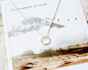 Infinite. Delicate Hammered Charm Necklace.