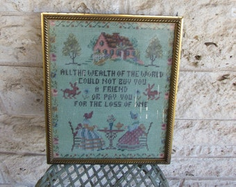 Antique Cross stitch Vintage Embroidery Folk Art Frienship Cross-stitch Vintage Art Friend Art Friendship Embroidery 50's Embroidery Art