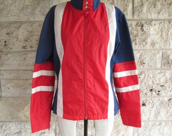 80's Windbreaker Mod Jacket Vintage Cafe Racer Style Light Jacket Medium Color block Red and Blue Cycling Jacket