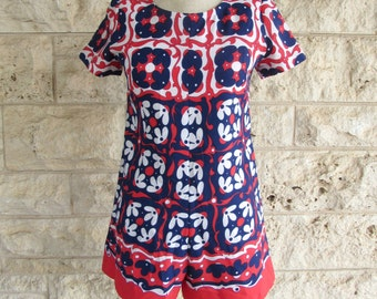 70's Mod Romper Retro Playsuit 70s Jumpsuit Psychedelic Print Small Jumper