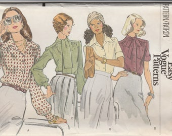 Easy 70s Blouse Pattern Vogue 8749 Size 12