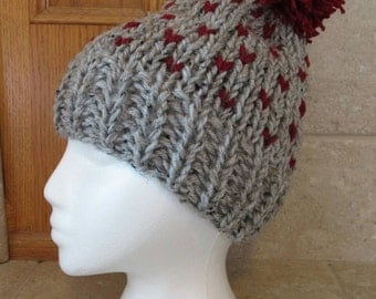 Slouch Hat, Knit hat, Crochet Hat, Tam Hat, Cloche Hat, gray, burgundy,  fair isle, ski hat, retro, bobble hat, heather