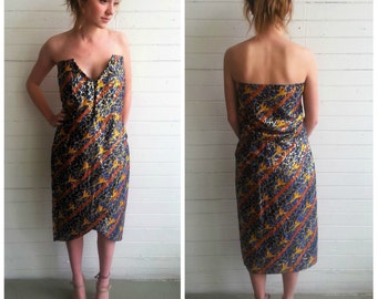 Vintage strapless dress . Vintage party dress. Disco dress. xs/ small