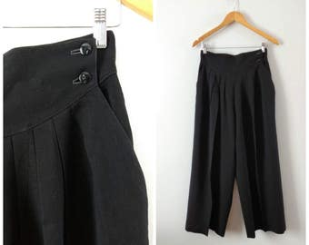 Vintage 1980s black wool high waisted pants, pleated wide leg pants, small