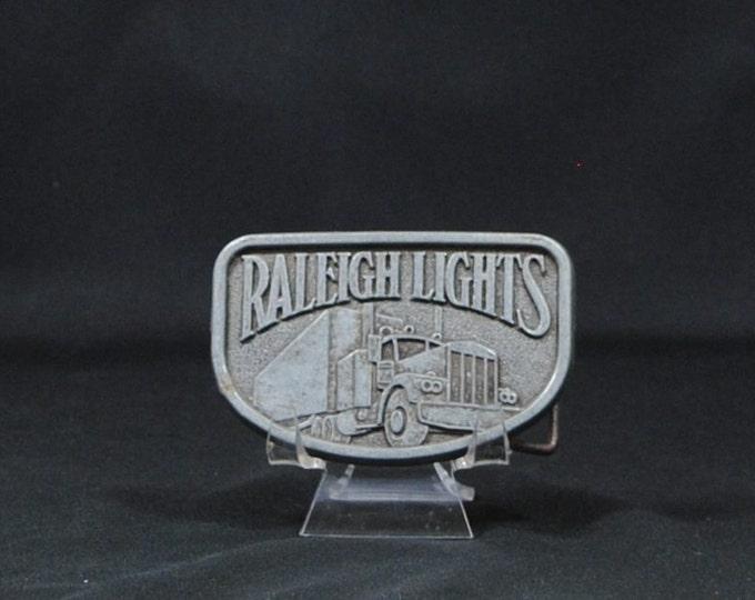 Vintage Pewter Belt Buckle, Raleigh Lights, 1970s, Cigarette, Truck Driver Buckle, Semi Truck, Big Rig, Metal Buckle, Vintage Buckle