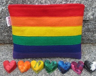 Recycled Crayons in Rainbow Velcro Pouch