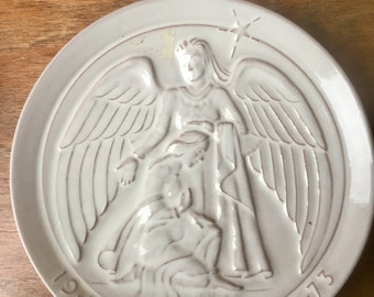 "White Frankoma Holiday Plate, ""The Annunciation"", Signed by John Frank, 1973"