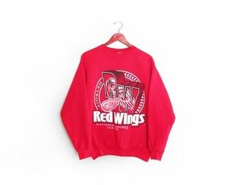 vintage sweatshirt / Detroit Red Wings / 90s sportswear / 1990s Detroit Red Wings sweatshirt Medium