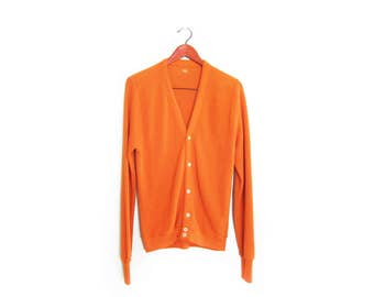 vintage cardigan / grandpa cardigan / grunge / 1970s orange grandpa cardigan grunge Medium