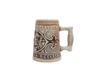 Vintage GERZ Beer Stein West Germany Medieval Knights High Relief Pottery German Barware Mug Gray Salt Glaze Majolica Battle Scene