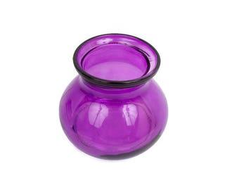 Vintage Purple Glass Vase Bulbous Body Flower Centerpiece Plum Art Glass Retro Floral Arrangement